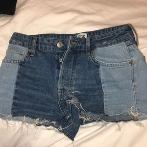Two Tone Denim Shorts (urban outfitters)